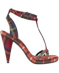 Burberry - Tartan Wool-canvas Sandals - Lyst