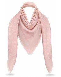 Louis Vuitton Pañuelos en seda rosa Châle Monogram