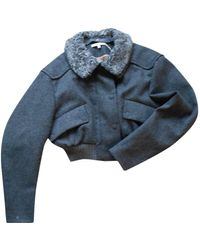Carven Giacca in pelle in lana antracite - Multicolore