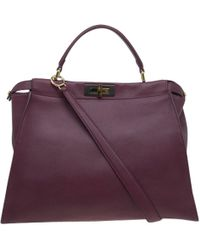 Lyst - Fendi Peekaboo Blue Leather Handbag in Blue cdb1729c33b42