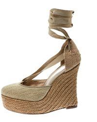 Fendi Beige Cloth Sandals - Natural