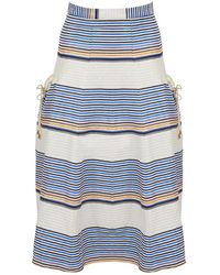 Tanya Taylor Ecru Cotton Skirt - Blue