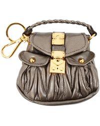 Miu Miu Silver Leather Bag Charms - Metallic