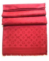 Louis Vuitton Châle Monogram Wolle Stola - Rot