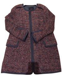 Maje Burgundy Wool Coats - Multicolour