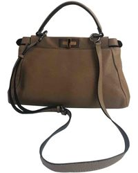 Fendi Peekaboo Beige Leather Handbag - Natural
