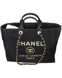 Chanel Borsa Deauville in Tela - Blu