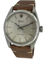 Rolex Vintage Oyster Perpetual 39mm Silver Steel Watches - Metallic