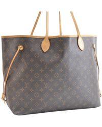8e5467f0b029 Lyst - Louis Vuitton Neverfull Cloth Handbag in Blue