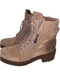 Balmain Beige Suede Boots - Natural