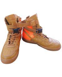 Nike Sf Air Force 1 Leather High Trainers - Orange