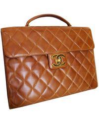 Chanel Business Affinity Camel Leather Handbag - Brown