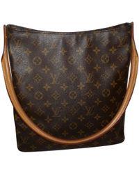 Louis Vuitton - Pre-owned Vintage Looping Brown Cloth Handbag - Lyst
