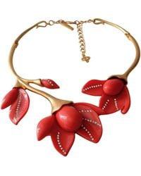 Oscar de la Renta Orange Gold Plated Long Necklaces - Multicolour