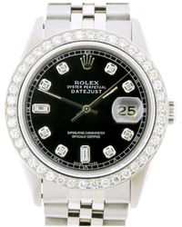 Rolex - Pre-owned Vintage Datejust 36mm Black Steel Watches - Lyst