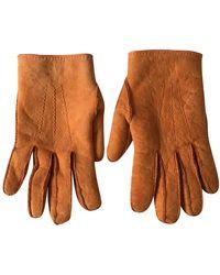 Hermès Guanti in mouton arancione