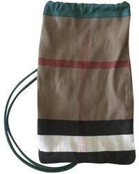 Burberry Sac en Toile Beige - Multicolore