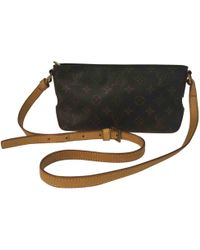 10effd23d009 Lyst - Louis Vuitton Pre-owned Trotteur Cloth Crossbody Bag in Brown