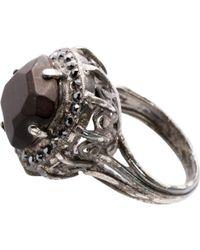 Lanvin - Black Metal Ring - Lyst