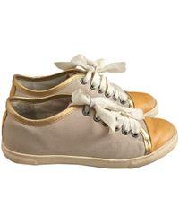 71c85ca9551 Lanvin Silver Metallic Leather Skate Shoes in Metallic - Lyst