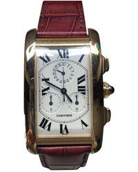 Cartier Tank Américaine Gelbgold Uhren - Rot