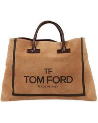 Tom Ford Bolsa de mano en ante beige \N - Neutro