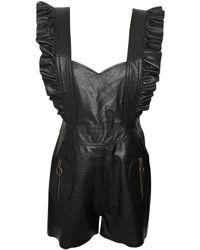 Philosophy Di Lorenzo Serafini Black Leather Jumpsuits