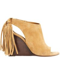 Chloé - Pre-owned Camel Suede Sandals - Lyst