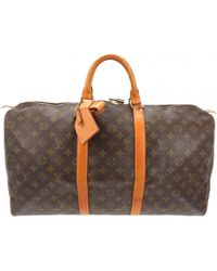 Louis Vuitton - Pre-owned Keepall Brown Leather Travel Bags - Lyst