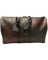 Louis Vuitton Keepall Leinen Reise tasche - Grau