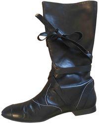 Chanel Leder Mit gurten boots - Schwarz
