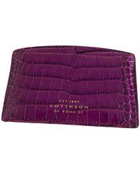 Smythson Leather Wallet - Purple