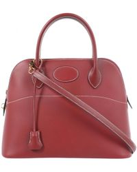 Hermès - Pre-owned Bolide Burgundy Leather Handbags - Lyst