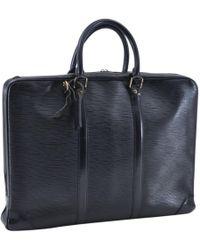 Louis Vuitton - Vintage Black Leather Handbag - Lyst