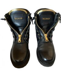 Balmain Leather Ankle Boots - Black