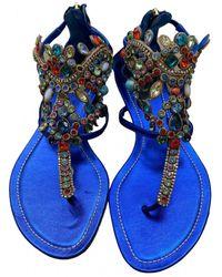 Rene Caovilla Leather Sandal - Blue