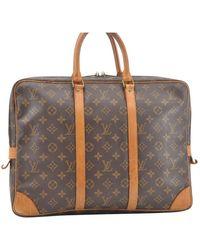 Louis Vuitton Porte Documents Voyage Brown Cloth Bag