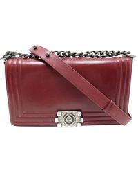 dca1785ac1c6 Lyst - Chanel Boy Medium Chain Shoulder Bag Calfskin Blue Quilted ...