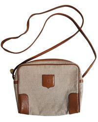 Céline Vintage Triomphe Beige Cloth Handbag - Natural