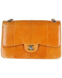 Chanel Bolsa de mano en pitón naranja
