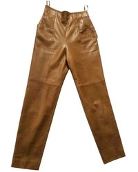 Dior Vintage Camel Leather Trousers - Brown