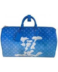 Louis Vuitton Keepall Leinen Reise tasche - Blau