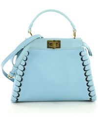 Lyst - Fendi Peekaboo Mini Python Satchel Bag in Blue 97d49f08ab730