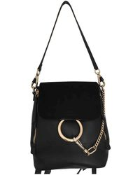 Chloé - Pre-owned Faye Black Leather Backpacks - Lyst