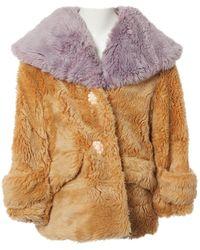 Miu Miu Camel Faux Fur Coat - Multicolour