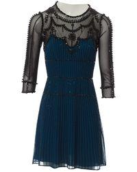 Jenny Packham Seide Mini Kleid - Blau