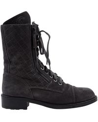 Chanel \n Grey Suede Ankle Boots - Gray