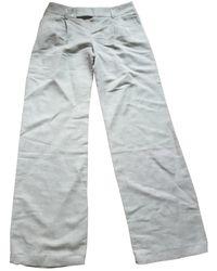 Maje Pantalons en Lin Beige - Neutre