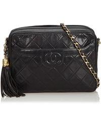 99c96c6b450d Chanel Vintage Camera Black Ostrich Handbag in Black - Lyst