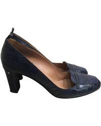 Laurence Dacade Navy Leather Heels - Blue